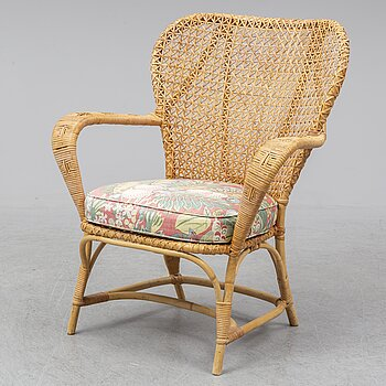 a mid rattan chair by Korgmakare Larsson, Stockholm, mid 20th century.