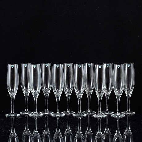 "Nils landberg, champagneglas, 12 st, ""prelude"", orrefors."