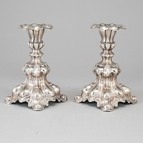 A pair of silver candle sticks, gab, stockholm 1963.