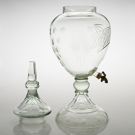A glass punch bowl from the first half of the 20th century.