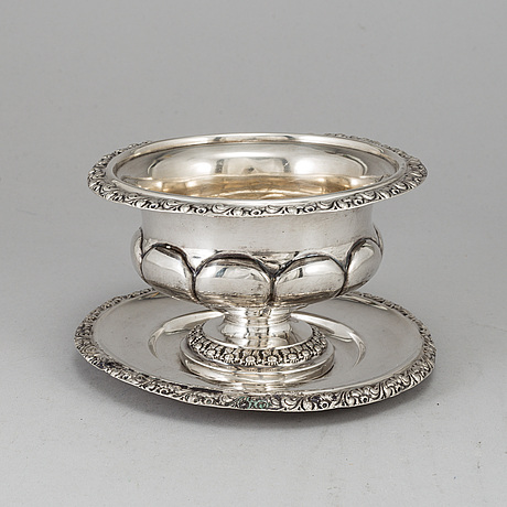 A silver sauce bowl by carl nyström stockholm 1844.