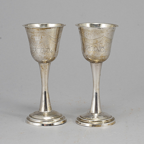 A pair of swedish silver wedding cups, mark of carl fredrik seseman, arboga 1812.