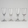 A set of four german glass goblets, 18th century.
