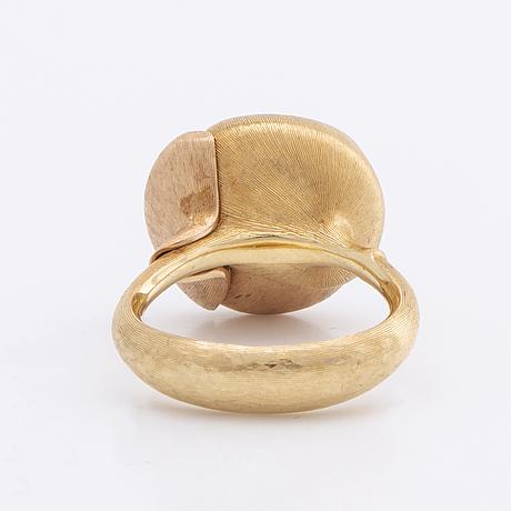 Lynggaard ring lotus collection 18k gold w 1 moonstone and brilliant-cut diamonds total 0,05 ct tw vs, original box.