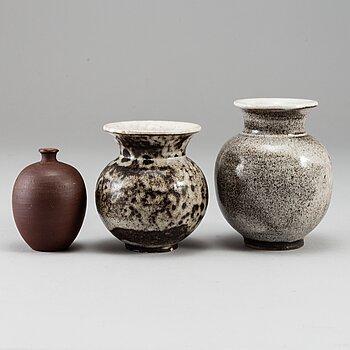 OTTO LINDIG, three stoneware vases, signed.