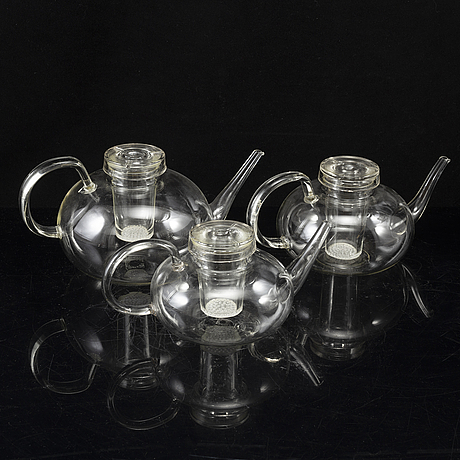 Wilhelm wagenfeld, 3 tea pots, jenaer glaswerk, schott & gen, germany.