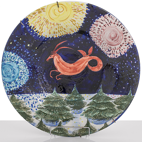 Dorrit von fieandt, a decorative plate, 'capricorn', from horoscope series, signed df arabia. 1993-1997.