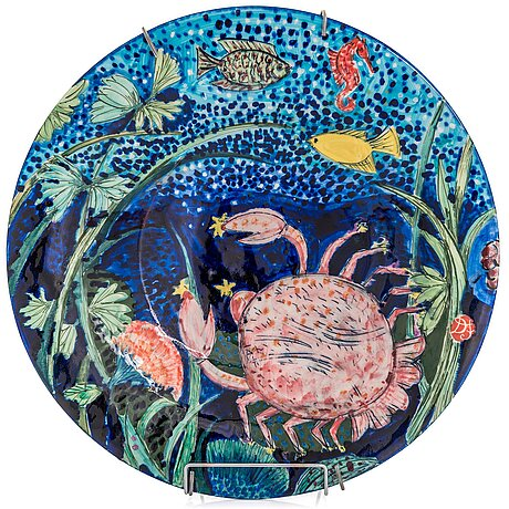 Dorrit von fieandt, a decorative plate, 'cancer ', from horoscope series, signed df arabia. 1993-1997.