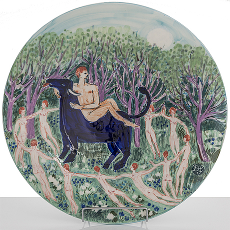 "Dorrit von fieandt,  dekorationsfat, ""oxen"", ur serien horoskop, signerad df arabia. 1993-1997."