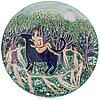 Dorrit von fieandt, a decorative plate, 'taurus', from horoscope series, signed df arabia. 1993-1997.