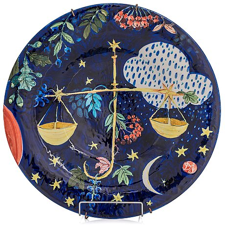 Dorrit von fieandt, a decorative plate, 'libra', from horoscope series, signed df arabia. 1993-1997.
