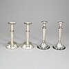 Four silver candlesticks from tesi, gothenburg, 1972-74.