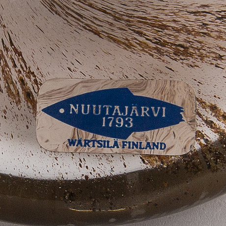 A 1980´s glass bird, signed oiva toikka nuutajärvi, notsjö.