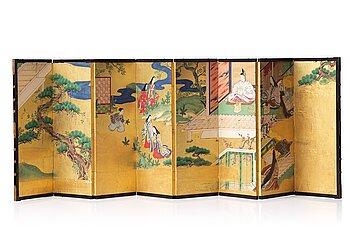 618. A Japanese eight panel screen, Meiji period (1868-1912).
