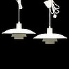Poul henningsen, a pair of 'ph-4/3' ceiling lights from louis poulsen, denmark.