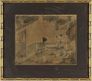 A Chinese painting, ink and colour on silk. Qing dynasty, 19th century.