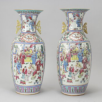 A pair of Chinese famille rose floor vase, early 20th century.