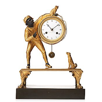 86. A Swedish Empire early 19th century mantel clock by J. E. Callerström, master 1817.