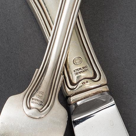 Georg jensen, 161 psc sterling silver cutlery 'old danish/dobbeltriflet', denmark.