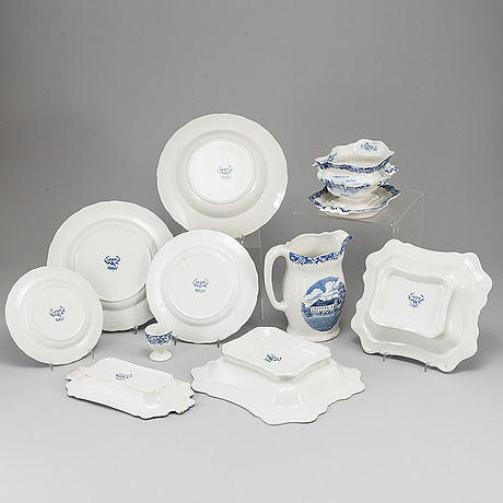A 'skånska slott' part earthenware dinner service, rörstrand (55 pieces).