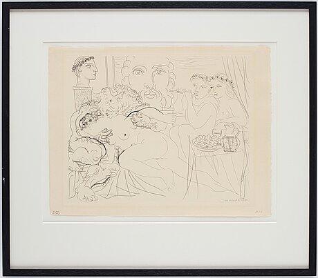 """Pablo picasso, """"minotaure caressant une femme"""" from: """"la suite vollard""""."""