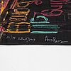 Nathalie djurberg & hans berg, print on bamboo textile, signead and numbered 20/75.