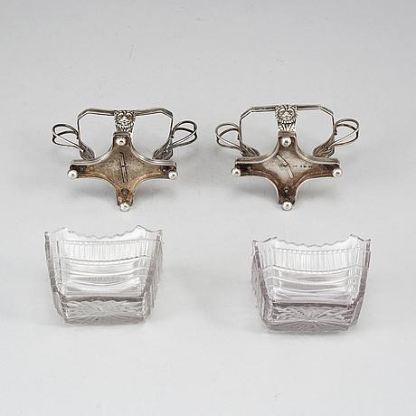 A pair of swedish silver salt cellars, gustaf folcker, stockholm 1820 and johan gustaf Åkerman, stockholm 1822.