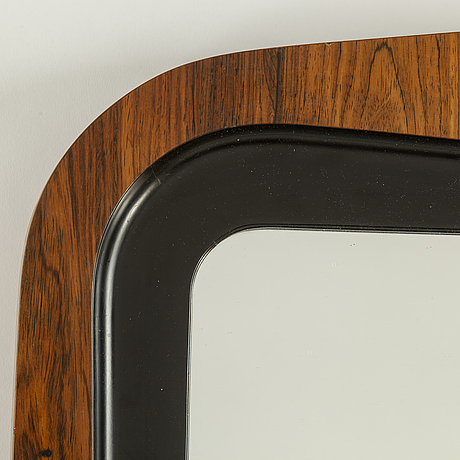 A swedish 1950s-60s mirror, glas & trä, hovmantorp. signed with label.