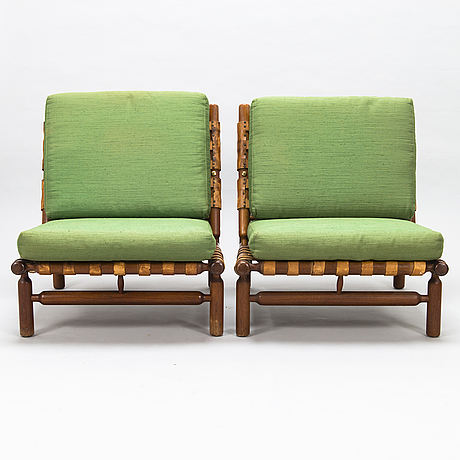 Ilmari tapiovaara, a pair of mid-20th-century armchairs and a stool for la permanente mobili cantù, italy.
