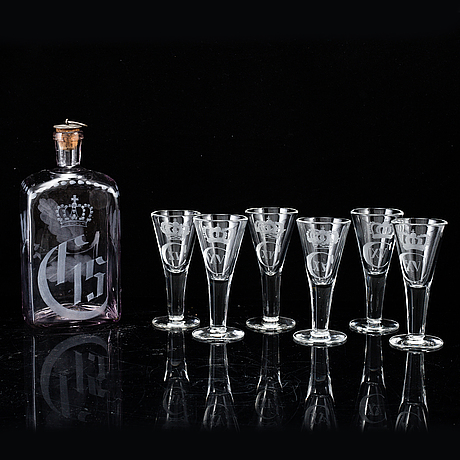 A set of six etched glasses and a bottle, sweden, 20th century.