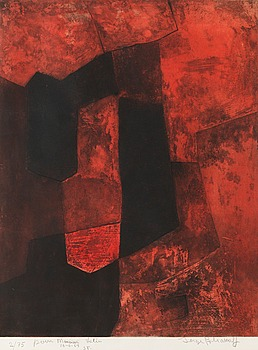 "488. SERGE POLIAKOFF, ""Composition brune et rouge""."