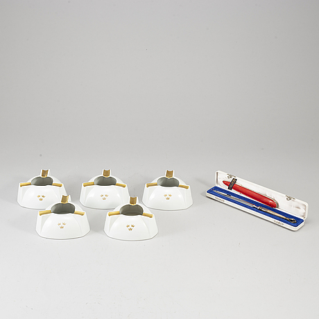 Swedish america line, six pieces om memorabilia, including w&s sörensen sterling silver letter opener in original bow.