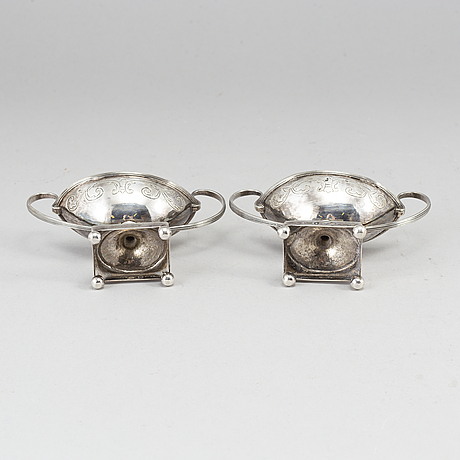A pair of swedish 18th century parcel-gilt silver salt-cellars, mark of jf wildt, stockholm 1798.
