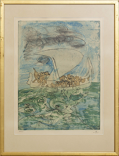 Roberto matta, etching with crayon in colours signed and numberde epreuve.