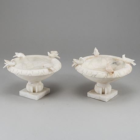 A pair of 20th century alabaster bowls or birdbaths.