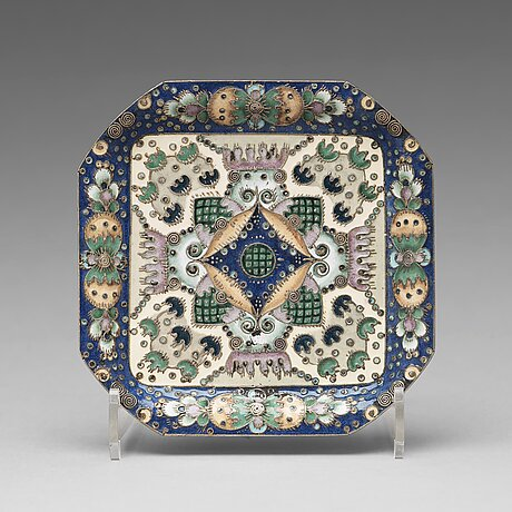 A fabergé silver-gilt and enameled coaster/tray, mark of feodor rückert, moscow 1908-1917. scratched inventory no 36218.
