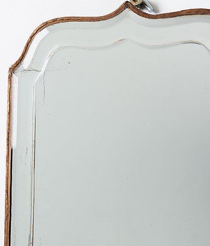 A pair of late baroque two-light girandole mirrors.