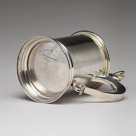 A swedish 18th century parcel-gilt silver tankard, mark of niclas warneck, karlstad 1766.