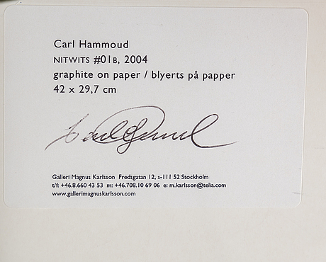 Carl hammoud, grapite on paper, signed on verso.