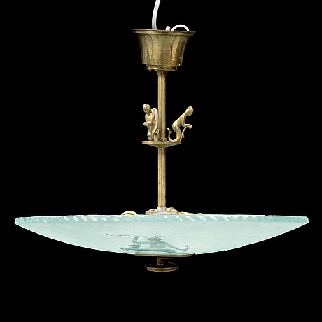 A 1930's glass and brass ceiling light.