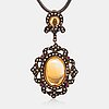 Halsband, 14k guld, silver, citriner, rubiner och rosenslipade diamanter ca 0.25 ct tot.