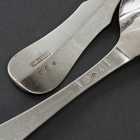 Three swedish silver spoons and four (3+1) silver forks, marked johan wilhelm zimmerman,  stockholm 1796.