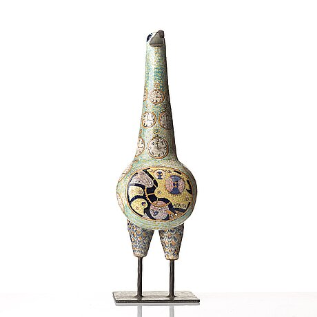 Birger kaipiainen, a ceramic sculpture of a bird, arabia, finland 1958.
