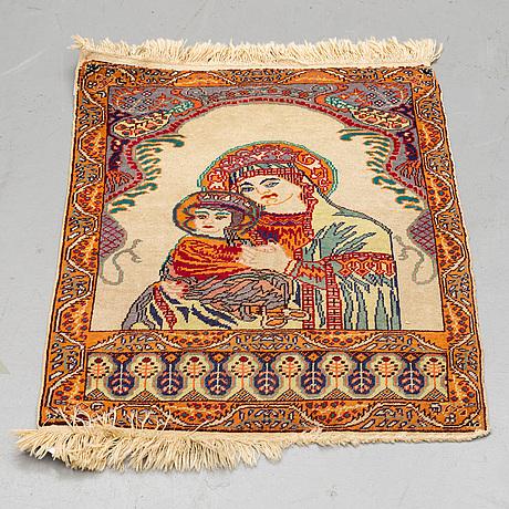 A rug, semi-antique kayseri figural 76 x 58 cm.