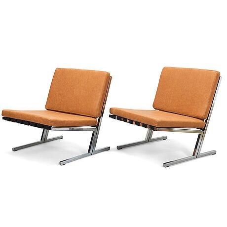 Toivo korhonen and esko pajamies, a pair of 1960s easy chairs, model tu-640, 'seta palatuoli', for merva, finland.