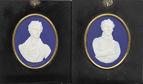 Two wall plaques, wedgwood, mid 19th century.