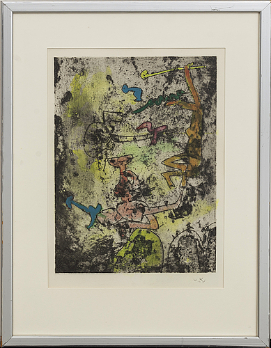 Roberto matta, etching coloured signed.