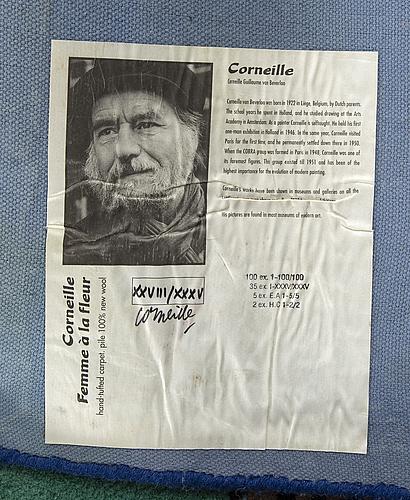 Beverloo corneille efter matta handtuftad i relief signerad och numrerad xxviii/xxxv, ca 203 x 207 cm.