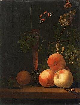 375. Abraham Pietersz. van Calraet, Still life with glass, peaches, butterflies and a snail.