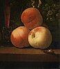 Abraham pietersz. van calraet, still life with glass, peaches, butterflies and a snail.